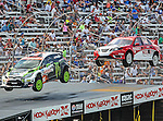 Ken Block (43) and Andy Scott (26), in action during the Global Rally Cross race, the Hoon Kaboom, at Texas Motor Speedway in Fort Worth,Texas. Global Rally Cross driver Marcos Gronholm (3) wins the Hoon Kaboom race..