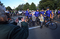 Black Spoke team with fans. he opening ceremony of the NZ Cycle Classic UCI Oceania Tour at Queen Elizabeth Park in Masterton, New Zealand on Tuesday, 14 January 2020. Photo: Dave Lintott / lintottphoto.co.nz