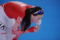 SCHAATSEN: ERFURT: Gunda Niemann-Stirnemann Halle, 02-03-2013, Essent ISU World Cup, Season 2012-2013, 1500m Ladies A, Yekaterina Lobysheva (RUS), ©foto Martin de Jong