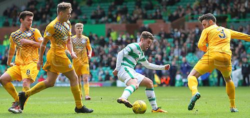 06.03.2016. Celtic Park, Glasgow, Scotland. Scottish Cup. Celtic versus Morton. Patrick Roberts goes through Morton defence