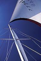 Sailing, Main mast, looking up, Southern California, Santa Monica Bay, South Bay, SoCal, Motor Boating, Power Yachts,