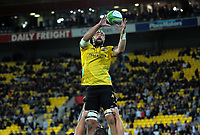 Blade Thomson takes lineout ball during the Super Rugby match between the Hurricanes and Crusaders at Westpac Stadium in Wellington, New Zealand on Saturday, 10 March 2018. Photo: Dave Lintott / lintottphoto.co.nz