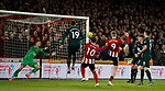 Martin Dubravka of Newcastle United saves a header from Oli McBurnie of Sheffield Utd during the Premier League match at Bramall Lane, Sheffield. Picture date: 5th December 2019. Picture credit should read: Simon Bellis/Sportimage