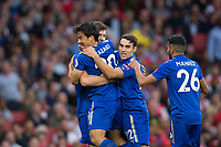 Leicester City's Shinji Okazaki celebrates scoring his sides equalising goal with team mates to make the score 1-1<br /> <br /> Photographer Craig Mercer/CameraSport<br /> <br /> The Premier League - Arsenal v Leicester City - Friday 11th August 2017 - Emirates Stadium - London<br /> <br /> World Copyright &copy; 2017 CameraSport. All rights reserved. 43 Linden Ave. Countesthorpe. Leicester. England. LE8 5PG - Tel: +44 (0) 116 277 4147 - admin@camerasport.com - www.camerasport.com