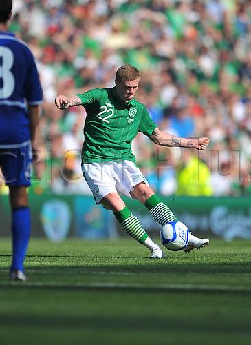 26.05.2012 Dublin, Ireland. Republic of Ireland v Bosnia and Herzegovina. Ireland's James McClean in action during the  International friendly game at the Aviva Stadium.