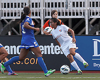 Sky Blue FC forward Monica Ocampo (8) looks to pass. In a National Women's Soccer League (NWSL) match, Boston Breakers (blue) defeated Sky Blue FC (white), 3-2, at Dilboy Stadium on June 30, 2013.