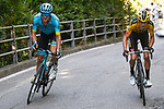 Jakob Fuglsang (DEN) Astana Pro Team and George Bennett (NZL) Team Jumbo-Visma climb the Civiglio in the lead during the 114th edition of Il Lombardia 2020, running 231km from Bergamo to Como, Italy. 15th August 2020.<br /> Picture: LaPresse/Fabio Ferrari | Cyclefile<br /> <br /> All photos usage must carry mandatory copyright credit (© Cyclefile | LaPresse/Fabio Ferrari)