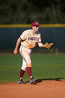 Boston College Eagles shortstop Johnny Adams (8) during a game against the Central Michigan Chippewas on March 3, 2017 at North Charlotte Regional Park in Port Charlotte, Florida.  Boston College defeated Central Michigan 5-4.  (Mike Janes/Four Seam Images)