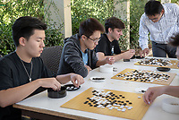 CSP 4, The Game of Go and Society with John Chung-En Liu, Assistant Professor, Sociology; Affiliated Faculty, East Asian Studies, on Friday, October 19, 2018 outside the Norris Hall of Chemistry.<br /> Homecoming and Family Weekend 2018 - Student for a Day, a Homecoming tradition, gives a snapshot of academic life for today's Oxy students.<br /> (Photo by Marc Campos, Occidental College Photographer)