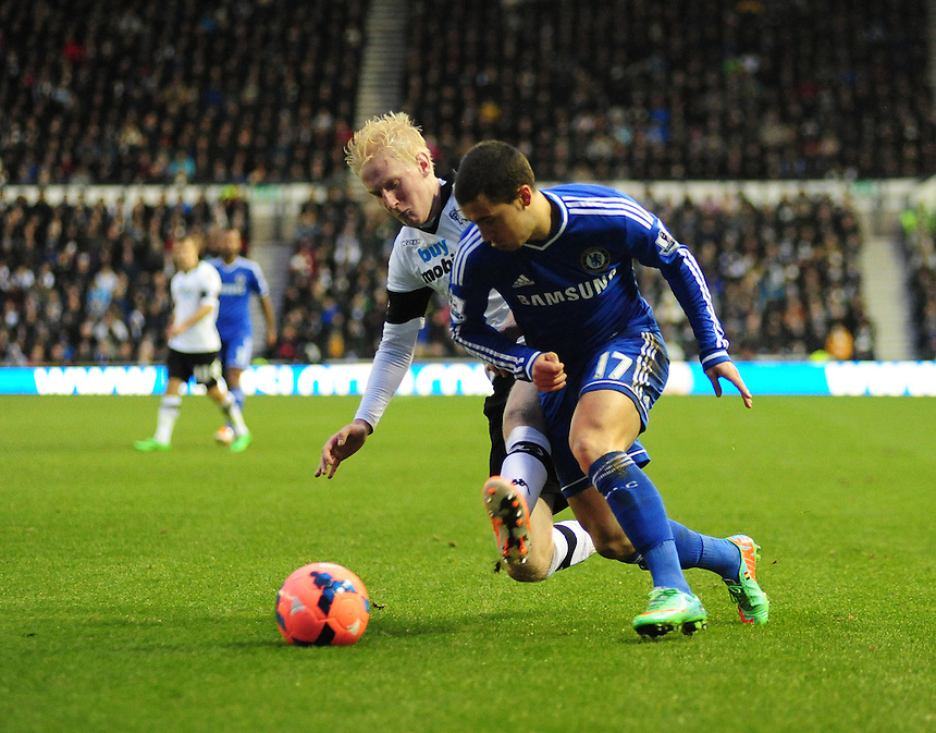 Chelsea's Eden Hazard is tackled by DDerby County's Will Hughes<br /> <br /> Photo by Chris Vaughan/CameraSport<br /> <br /> Football - FA Challenge Cup Third Round - Derby County v Chelsea - Sunday 5th January 2014 - The iPro Stadium - Pride Park - Derby <br /> <br />  &copy; CameraSport - 43 Linden Ave. Countesthorpe. Leicester. England. LE8 5PG - Tel: +44 (0) 116 277 4147 - admin@camerasport.com - www.camerasport.com