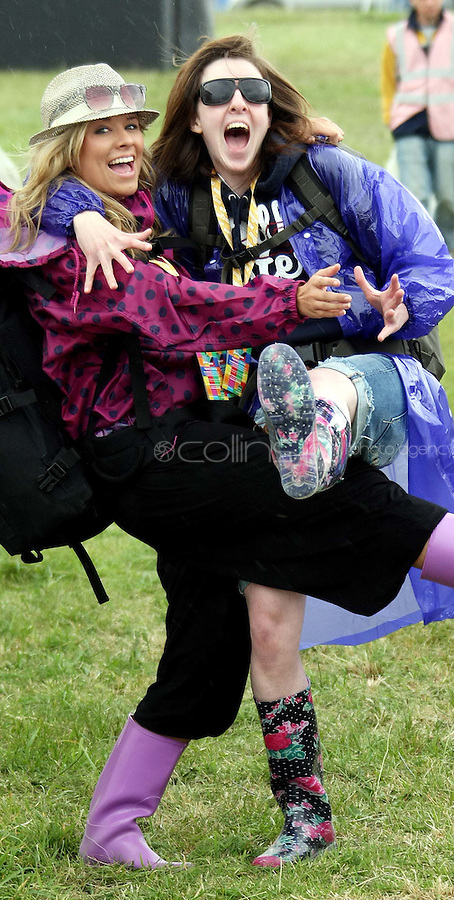 08/07/'10 Jenna Strain and Lauren Pedlow from Banbridge pictured arriving at Punchestown, Co. Kildare this evening for the start of the Oxegen Festival 2010...Picture Colin Keegan, Collins, Dublin