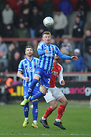 Blackpool's Calum MacDonald vies for possession with Fleetwood Town's Ched Evans<br /> <br /> Photographer Kevin Barnes/CameraSport<br /> <br /> The EFL Sky Bet League One - Fleetwood Town v Blackpool - Saturday 7th March 2020 - Highbury Stadium - Fleetwood<br /> <br /> World Copyright © 2020 CameraSport. All rights reserved. 43 Linden Ave. Countesthorpe. Leicester. England. LE8 5PG - Tel: +44 (0) 116 277 4147 - admin@camerasport.com - www.camerasport.com