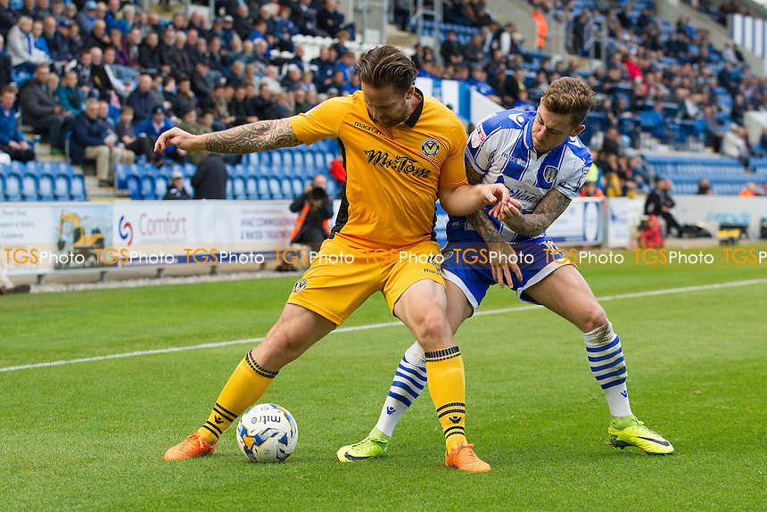 Paul Bignot of Newport County holds of Sammie Szmodics of Colchester United during Colchester United vs Newport County, Sky Bet EFL League 2 Football at the Weston Homes Community Stadium on 8th October 2016