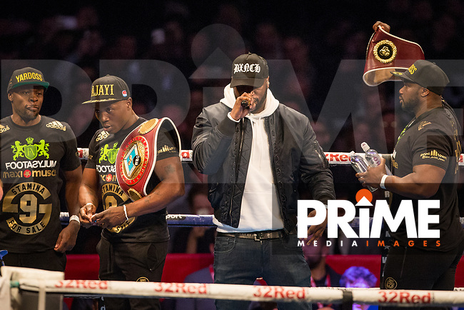 Rapper Lethal Bizzle raps as Team Anthony Yarde parade the boxers belts during the Boys are back in town - Frank Warren Boxing event at the Copper Box Arena, London, England on 9 December 2017. Photo by Andy Rowland.
