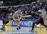 January 24, 2015 - Colorado Springs, Colorado, U.S. -   Air Force forward, Marek Olesinski #0, drives the lane during a Mountain West Conference match-up between the Boise State Broncos and the Air Force Academy Falcons at Clune Arena, U.S. Air Force Academy, Colorado Springs, Colorado.  Boise State defeats Air Force 77-68.