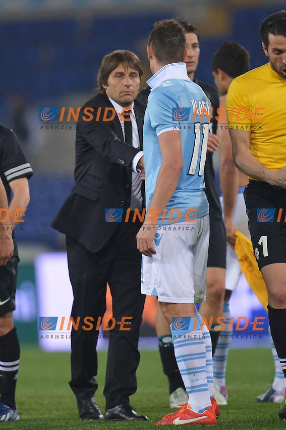 Antonio Conte, Miroslav Klose .Roma 15/04/2013 Stadio Olimpico.Football Calcio 2012/2013 Serie A.Lazio Vs Juventus.Foto Andrea Staccioli Insidefoto