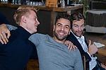 VOGELENZANG -  Valentin Verga (Ned) met Joep de Mol (Ned)  en Mirco Pruyser (Ned) . Spelerslunch KNHB 2019.   COPYRIGHT KOEN SUYK