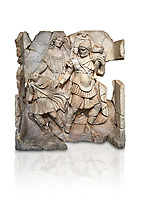 Roman Sebasteion relief  sculpture of Aineas' flight from Troy, Aphrodisias Museum, Aphrodisias, Turkey.   Against a white background.<br /> <br /> Aineas in armour carries his aged farther Anchises on his shoulders and leads his young son Lulus by his hand. They are fleeing from the sack of Troy. The figure floating behind is Aphrodite, Aineas' mother: she is helping their escape. Old Anchises carries a round box that held images of Troy's ancestral gods.