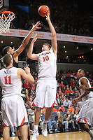Virginia forward/center Mike Tobey (10) shoots the ball during the game against Wake Forest Wednesday Jan. 08, 2014 in Charlottesville, Va. Virginia defeated Wake Forest 74-51.