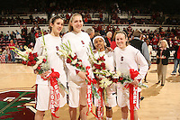 25 February 2007: Seniors Brooke Smith, Kristen Newlin, Markisha Coleman and Clare Bodensteiner during Stanford's 56-53 win over USC at Maples Pavilion in Stanford, CA.