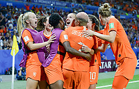 20190703 - LYON , FRANCE : Dutch players pictured celebrating their 1-0 lead by a goal from Jackie Groenen during the female soccer game between Netherlands – Oranje Leeuwinnen - and Sweden  , a knock out game in the semi finals of the FIFA Women's  World Championship in France 2019, Wednesday 3 th July 2019 at the Stade de Lyon  Stadium in Lyon  , France .  PHOTO SPORTPIX.BE | DAVID CATRY