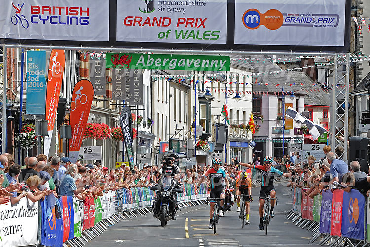 "Race winner Tom Stewart (r) of the Madison Genesis team crossing the finishing line during the Abergavenny Festival of Cycling ""Grand Prix of Wales"" race on Sunday 17th 2016<br /> <br /> <br /> Jeff Thomas Photography -  www.jaypics.photoshelter.com - <br /> e-mail swansea1001@hotmail.co.uk -<br /> Mob: 07837 386244 -"
