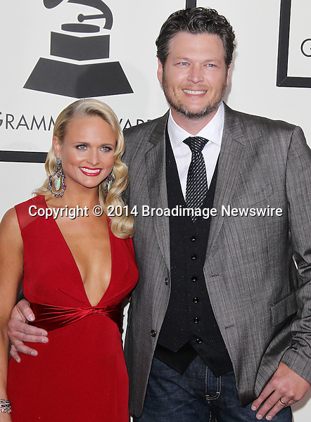 Pictured: Blake Shelton, Miranda Lambert<br /> Mandatory Credit &copy; Frederick Taylor/Broadimage<br /> 56th Annual Grammy Awards - Red Carpet<br /> <br /> 1/26/14, Los Angeles, California, United States of America<br /> <br /> Broadimage Newswire<br /> Los Angeles 1+  (310) 301-1027<br /> New York      1+  (646) 827-9134<br /> sales@broadimage.com<br /> http://www.broadimage.com