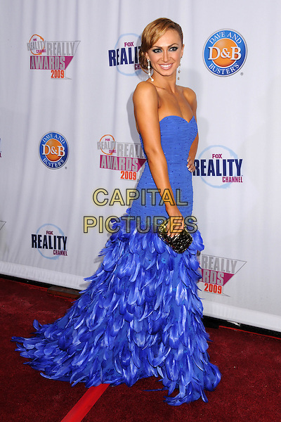 KARINA SMIRNOFF.2009 Fox Reality Channel Really Awards held at the Music Box Theatre, Hollywood, California, USA..October 13th, 2009.full length blue strapless drop waist feather  dress .CAP/ADM/BP.©Byron Purvis/AdMedia/Capital Pictures.