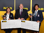 Fred Revell from ASB with this years Sports Persons of the Year, Lydia Ko and Joshua Hawkins. ASB College Sport Young Sportsperson of the Year Awards held at Eden Park, Auckland, on November 24th 2011.
