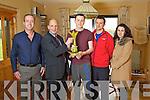 Local Hero Award winner Donal Walsh (centre) Aidan O'Connor (Kerry's Eye) Brendan Kennelly, (Kerry's Eye), Donal Walsh, Ruairi O'Rahilly, Treasa Morphy, (Radio Kerry).