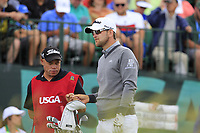 Bernd Wiesberger (AUT) and caddy Shane on the 1st tee to start his match during Sunday's Final Round of the 117th U.S. Open Championship 2017 held at Erin Hills, Erin, Wisconsin, USA. 18th June 2017.<br /> Picture: Eoin Clarke | Golffile<br /> <br /> <br /> All photos usage must carry mandatory copyright credit (&copy; Golffile | Eoin Clarke)