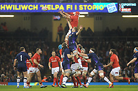 Wales' Cory Hill clams the line out <br /> <br /> Photographer Ian Cook/CameraSport<br /> <br /> Under Armour Series Autumn Internationals - Wales v Scotland - Saturday 3rd November 2018 - Principality Stadium - Cardiff<br /> <br /> World Copyright &copy; 2018 CameraSport. All rights reserved. 43 Linden Ave. Countesthorpe. Leicester. England. LE8 5PG - Tel: +44 (0) 116 277 4147 - admin@camerasport.com - www.camerasport.com
