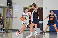Har-Ber guard Alyssa Banks (2) drives the ball past Heritage Maddie Lynge (3), Friday, February 7, 2020 during a basketball game at Wildcat Arena at Har-Ber High School in Springdale. Check out nwaonline.com/prepbball/ for today's photo gallery.<br /> (NWA Democrat-Gazette/Charlie Kaijo)