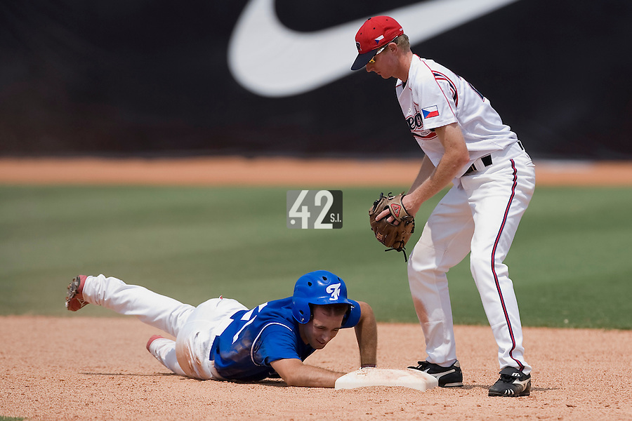 23 August 2007: Left Field #24 Gaspard Fessy steals second base during the France 8-4 victory over Czech Republic in the Good Luck Beijing International baseball tournament (olympic test event) at the Wukesong Baseball Field in Beijing, China.