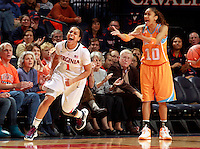 CHARLOTTESVILLE, VA- NOVEMBER 20: China Crosby #1 of the Virginia Cavaliers reacts to a play in front of Meighan Simmons #10 of the Tennessee Lady Volunteers during the game on November 20, 2011 at the John Paul Jones Arena in Charlottesville, Virginia. Virginia defeated Tennessee in overtime 69-64. (Photo by Andrew Shurtleff/Getty Images) *** Local Caption *** China Crosby;Meighan Simmons