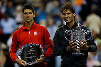 Rafael Nadal of Spain and Novak Djokovic of Serbia during  their men's final at the U.S. Open tennis Tournament in New York,  September 9, 2013, Photo by Stringer / VIEWpress.