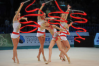 "Italian senior group performs in Event Finals at 2011 World Cup Kiev, ""Deriugina Cup"" in Kiev, Ukraine on May 8, 2011."