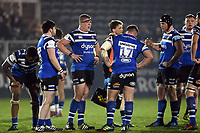 Bath United players take a breather. Premiership Rugby Shield match, between Bath United and Gloucester United on April 8, 2019 at the Recreation Ground in Bath, England. Photo by: Patrick Khachfe / Onside Images