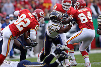 San Diego Chargers linebacker Stephen Cooper fights his way to the ball on a kickoff return during the second quarter at Arrowhead Stadium  in Kansas City, MO on October 22, 2006. The Chiefs won 30-27.