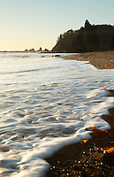 Seafoam surf rolling onto beach, Rialto Beach, Olympic National Park, Washington State, USA