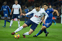 Son Heung-min of Tottenham battles with Shinji Okazaki of Leicester City during the Premier League match between Leicester City and Tottenham Hotspur at the King Power Stadium, Leicester, England on 28 November 2017. Photo by James Williamson / PRiME Media Images.