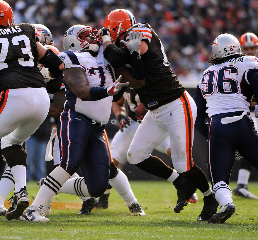 BRANDON DEADERICK, of the New England Patriots, in action during the Patriots game against the Cleveland Browns on November 7, 2010 at Cleveland Browns Stadium in Cleveland, Ohio.  ..The Browns beat the Patriots 34-14...