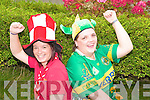 Debbie O'Driscoll, Myrtleville, Crosstown, Cork, and Mags Nagle, Kilcummin, were cheering on their counties at the ahead of Sundays All Ireland final, at the work in Bellview Childcare, Killarney, on Wednesday.