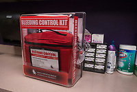 NWA Democrat-Gazette/BEN GOFF @NWABENGOFF<br /> A new bleeding control kit sits on the counter Friday, March 9, 2018, in the nurse's office at Lowell Elementary. The unit with five individual kits containing tourniquets and trauma dressings, will be wall mounted next to the school's automated external difibrillator.