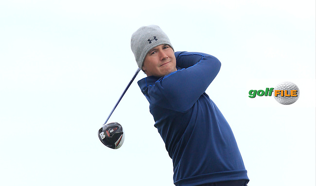 Colm campbell Jnr (Warrenpoint) on the 14th tee during Round 3 of the Irish Amateur Open Championship at Royal Dublin on Saturday 9th May 2015.<br /> Picture:  Thos Caffrey / www.golffile.ie