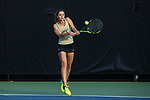 Eliza Omirou of the Wake Forest Demon Deacons returns the ball during the match against the North Carolina Tar Heels at the Wake Forest Tennis Center on March 29, 2017 in Winston-Salem, North Carolina. The Tar Heels defeated the Demon Deacons 6-1.  (Brian Westerholt/Sports On Film)