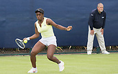 June 10th 2017,  Nottingham, England; WTA Aegon Nottingham Open Tennis Tournament day 1; Sachia Vickery of USA wins the first set in her match against Brianna Morgan of the USA