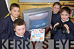 LIVE ON TV: Pupils at Lyrecrompane national school who are keeping an eye on a bird's nest in their garden through CCTV being beamed into their classroom, l-r: Jake Shanahan, Conor McMahon, Aydah Naughton, Caoimhe Nolan.