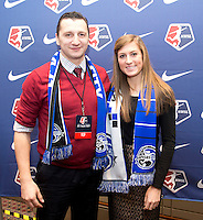 #5 overall pick Kasey Kallman of FC Kansas City stands head coach Vlatko Andonovski during the NWSL draft at the Pennsylvania Convention Center in Philadelphia, PA, on January 17, 2014.