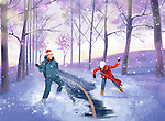 Illustrative image of couple playing in snow during Christmas